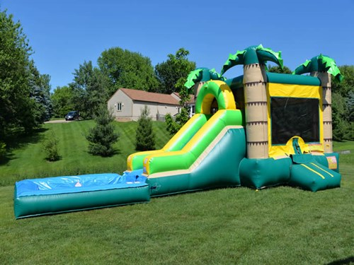 bounce party supplies bounce house rental tropical Combo with Slide bouncepartysupplies.com